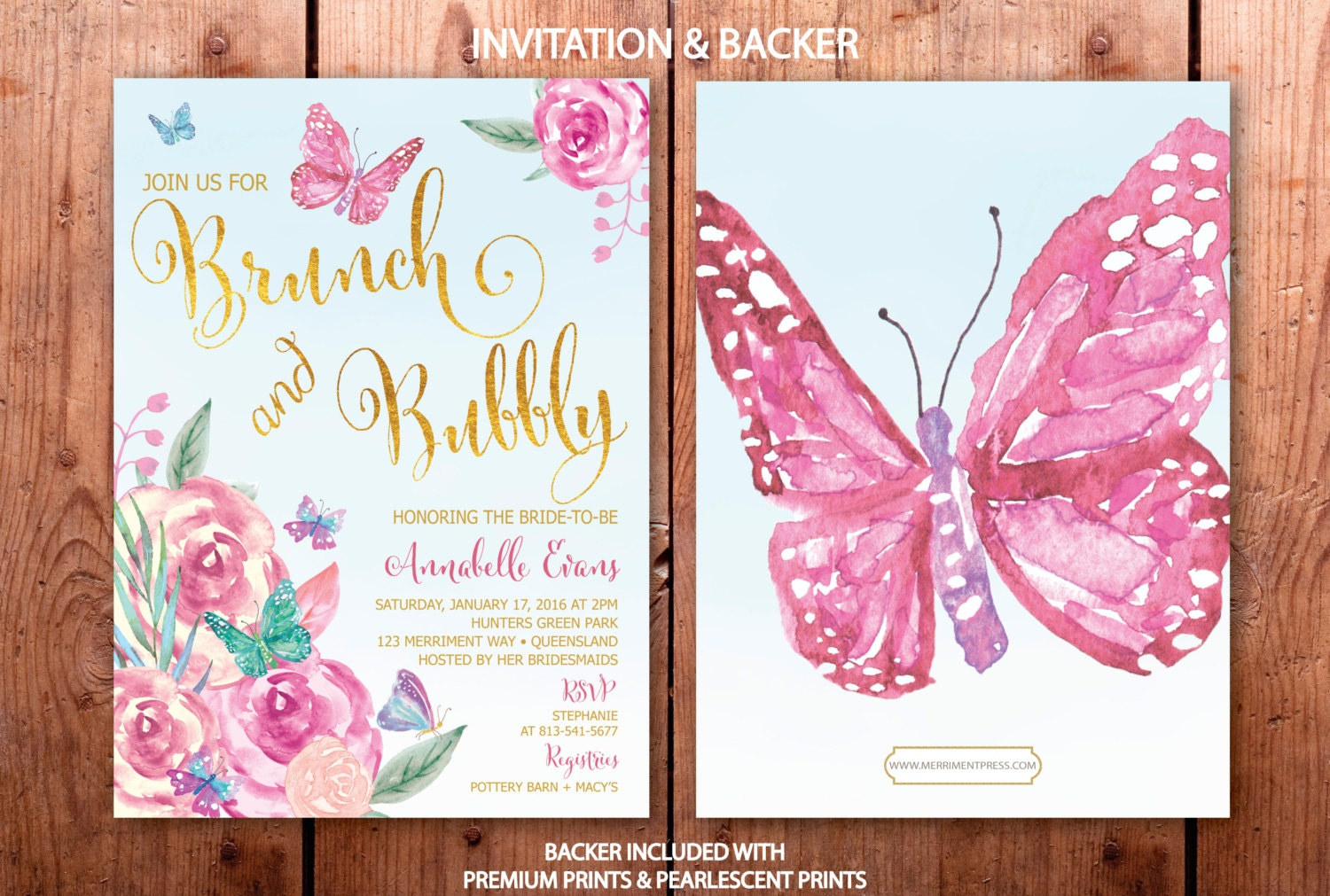 butterfly brunch and bubbly invitation butterflies bridal shower invite pink gold purple blue floral watercolor printed victoria