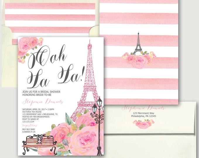 Paris Bridal Shower Invitation // Ooh La la Pink Bridal Shower Invitation // French // Eiffel Tower // Watercolor // MELBOURNE COLLECTION