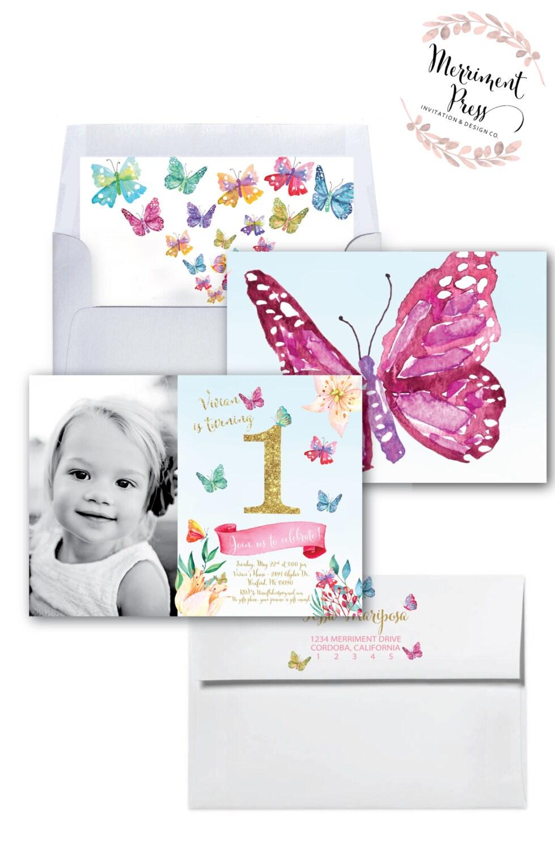 Butterfly First Birthday Photo Invitation Butterflies Gold Glitter