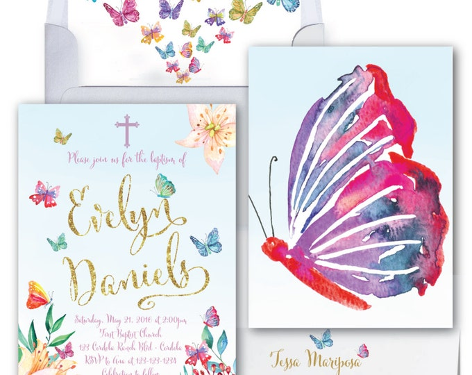 Butterfly Baptism Invitation // Butterflies // First Holy Communion // Watercolor // Gold Glitter // CORDOBA COLLECTION