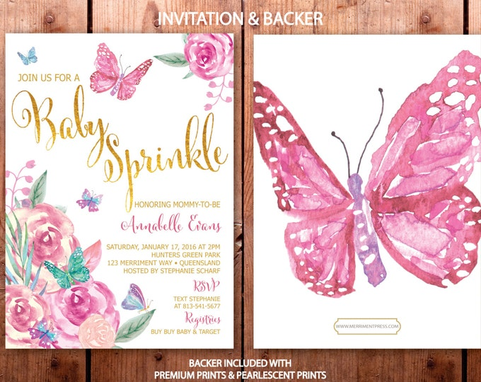 Butterfly Baby Sprinkle Invitation // Butterflies Invitation // Baby Sprinkle invitation // Gold // Floral // VICTORIA COLLECTION
