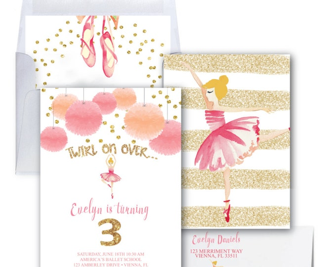 Pink and Gold Ballet Invitation / Ballerina Invitation / Glitter / Ballet Birthday Party / Ballerina Party / Watercolor // VIENNA COLLECTION