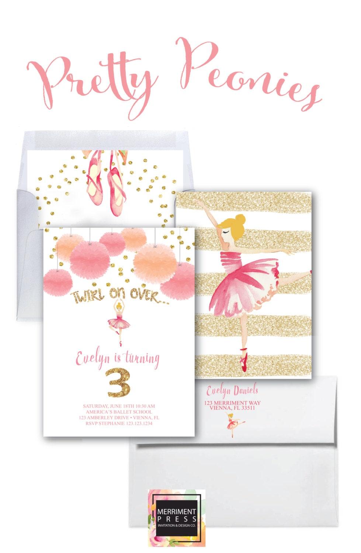 Pink and Gold Ballet Invitation / Ballerina Invitation / Glitter ...
