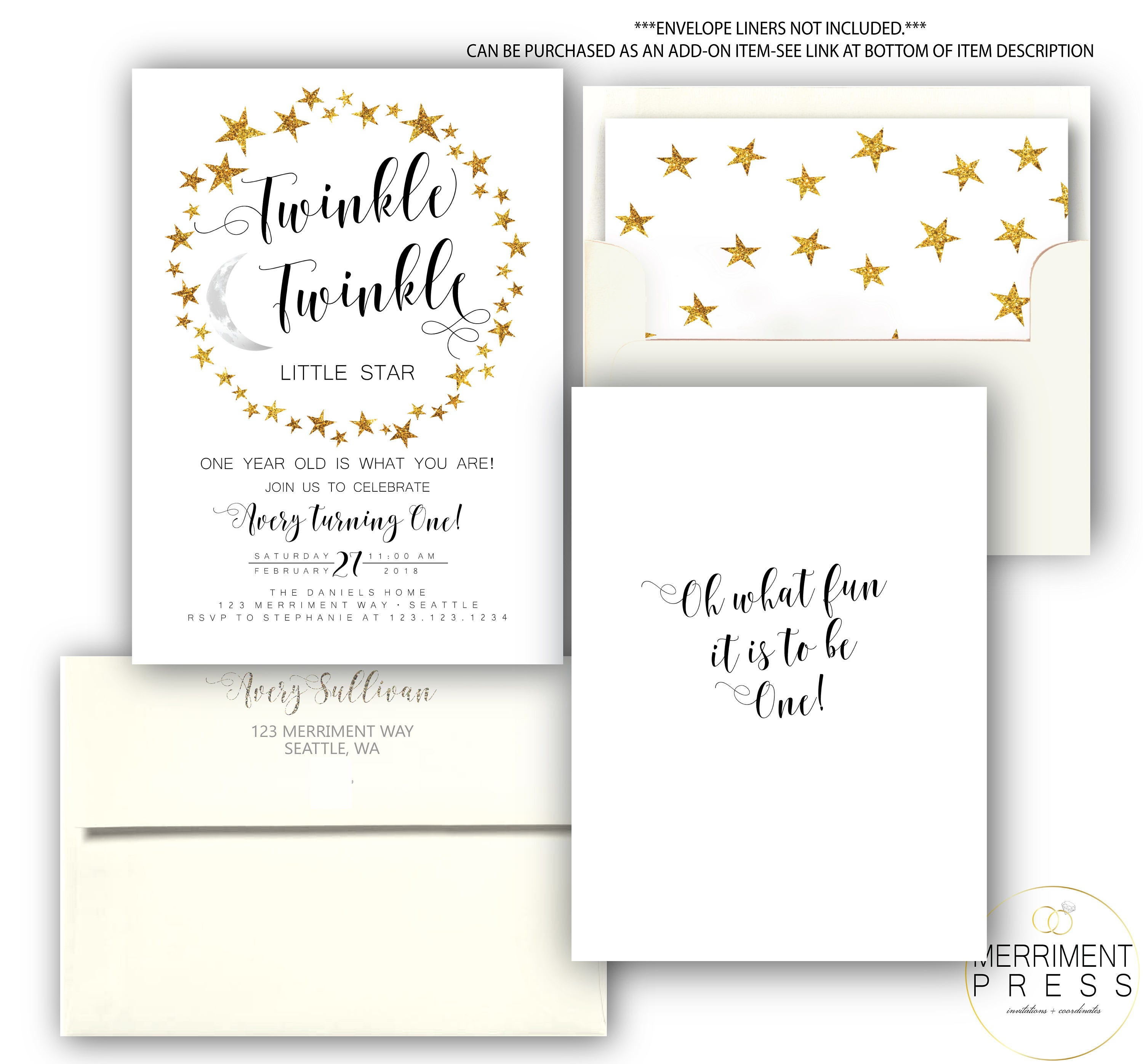 Modern Twinkle First Birthday Invitation One Black And White