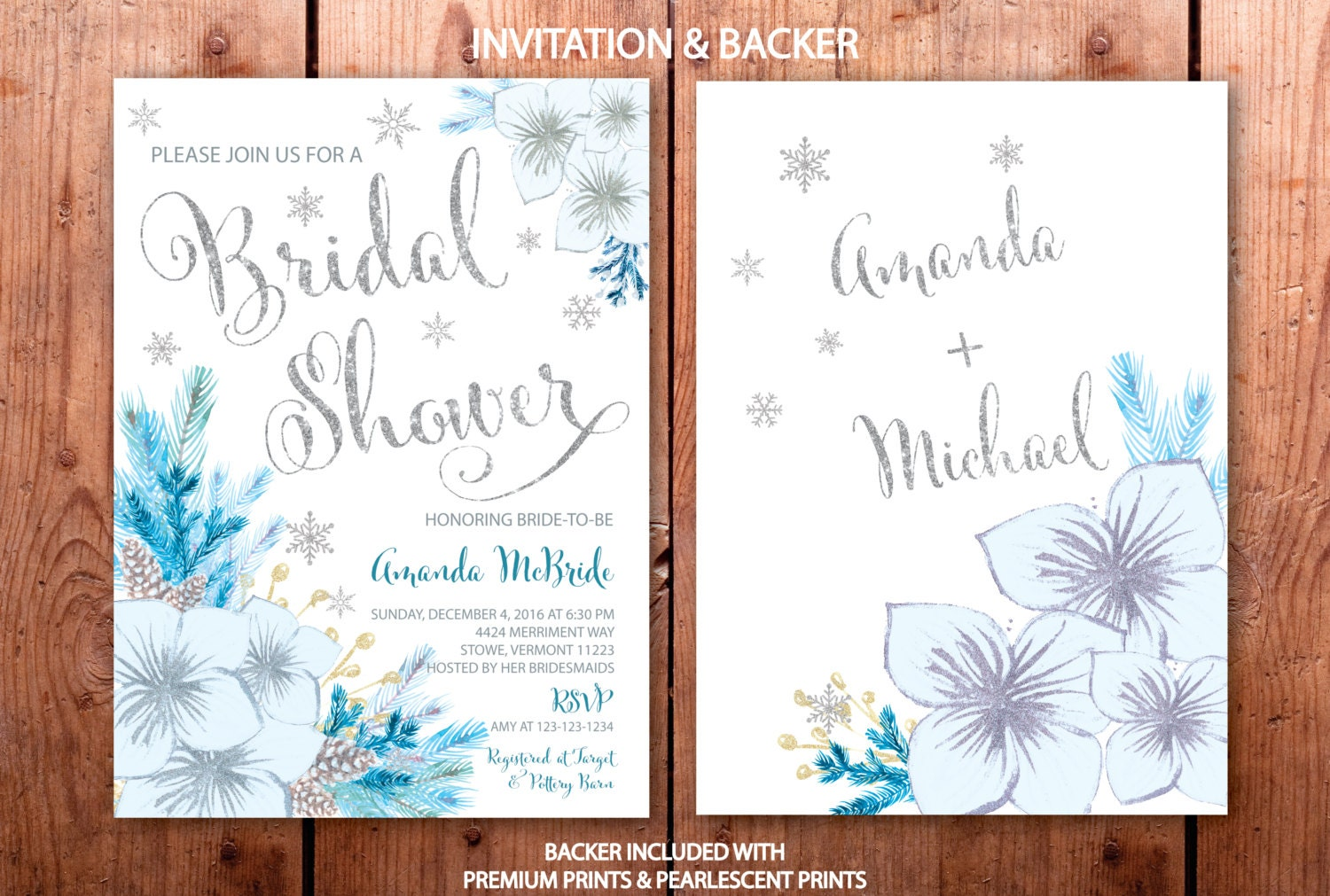 Winter bridal shower invitation snowflake bridal shower winter winter bridal shower invitation snowflake bridal shower winter bridal shower blue teal holiday silver vermont collection filmwisefo
