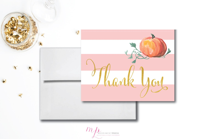 Little Pumpkin Thank You Card Instant Download Gold Foil Pink