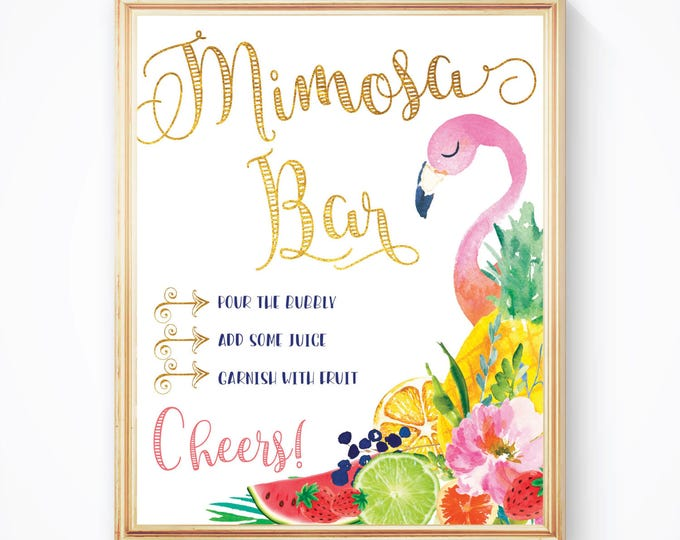 "Flamingo Tropical Mimosa Bar Sign 8x10"" // Fruit // Printed //Mimosas // Mimosas & Monograms // Made to Match our ARUBA COLLECTION"