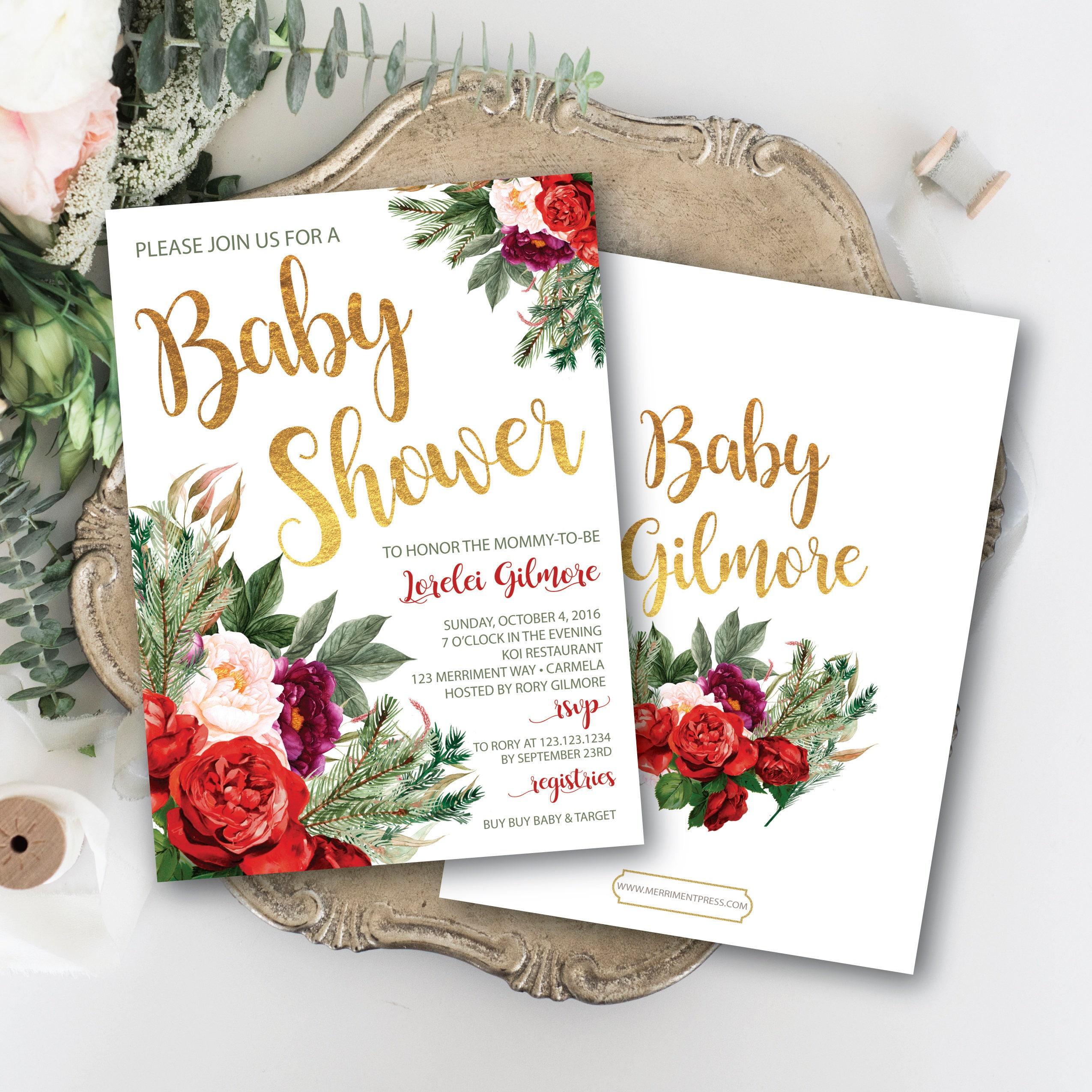 Holiday Baby Shower Invitation // Christmas Baby Shower // Winter ...