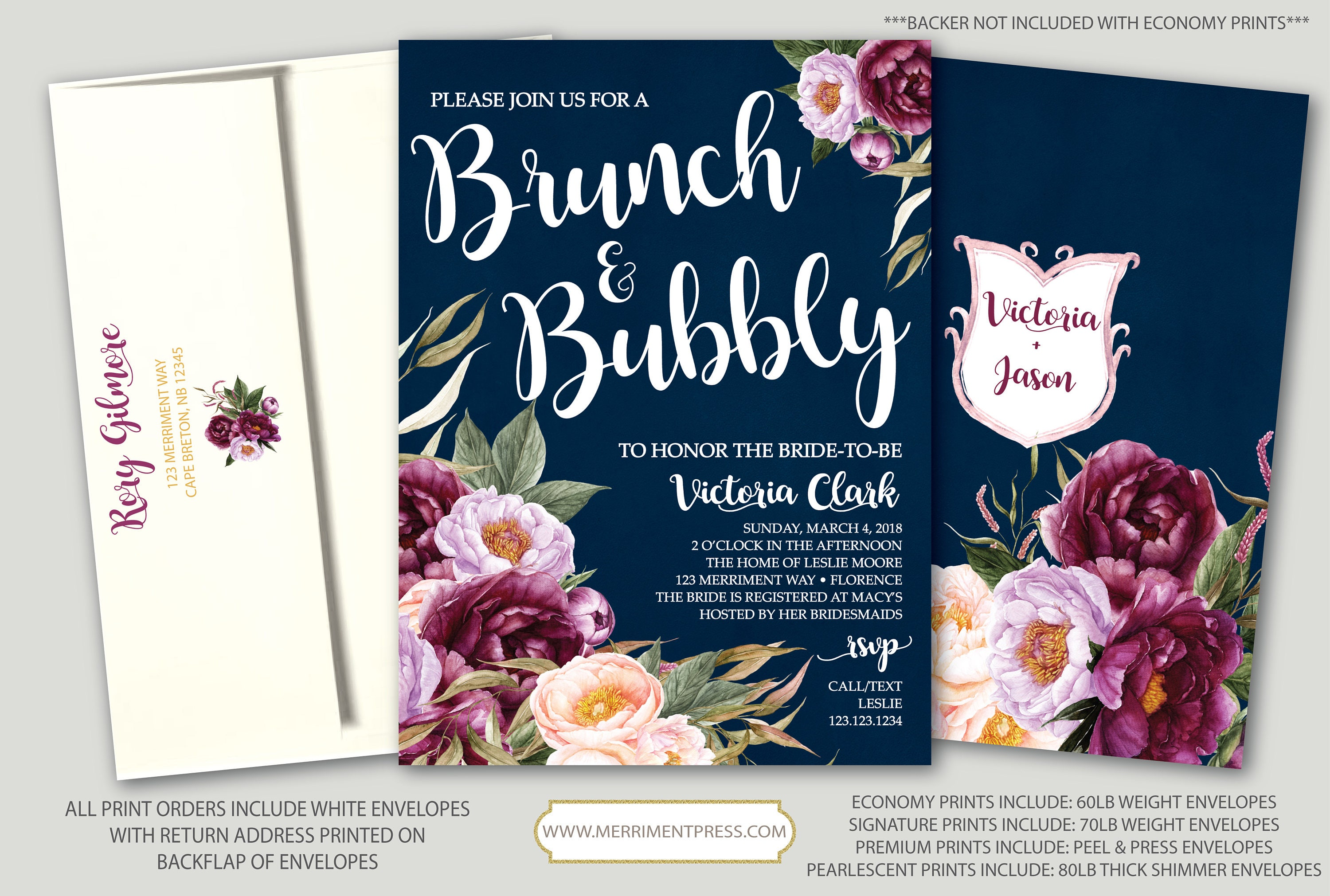 bea8e1b01601 Burgundy Floral Bruch and Bubbly Invitation   Bridal Shower   Navy ...
