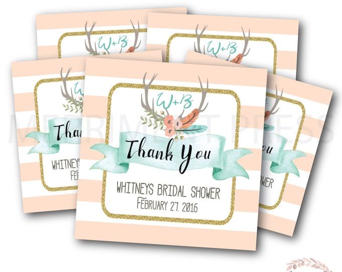 Favor Tags // Oh Deer // Antlers // Bridal Shower // Deer // Peach // Mint // Pink // Printed or Printable DIY // OXFORD COLLECTION