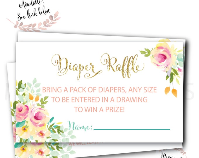 Diaper Raffle // Ticket // Watercolor Floral // Pink // Gold Glitter // Yellow // Peach // Mint // Printed // MALIBU COLLECTION
