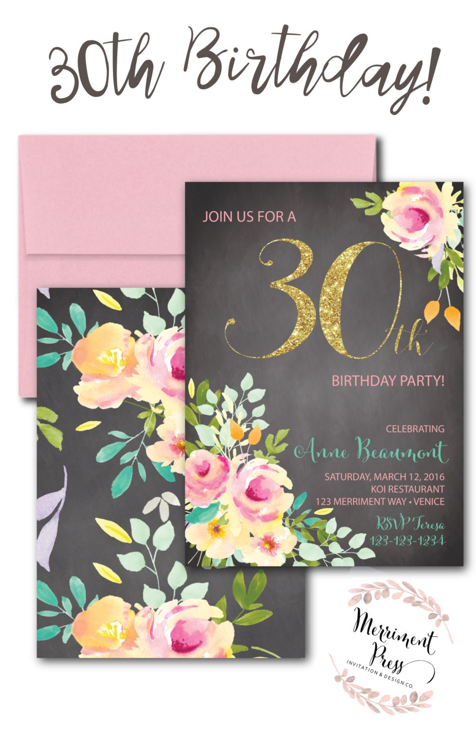 30th Birthday Invitation Chalkboard Thirty Roses