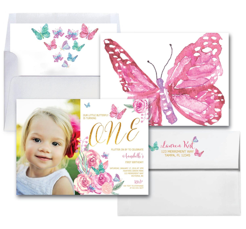 Butterfly First Birthday Invitation // Photo // 1st Birthday ...