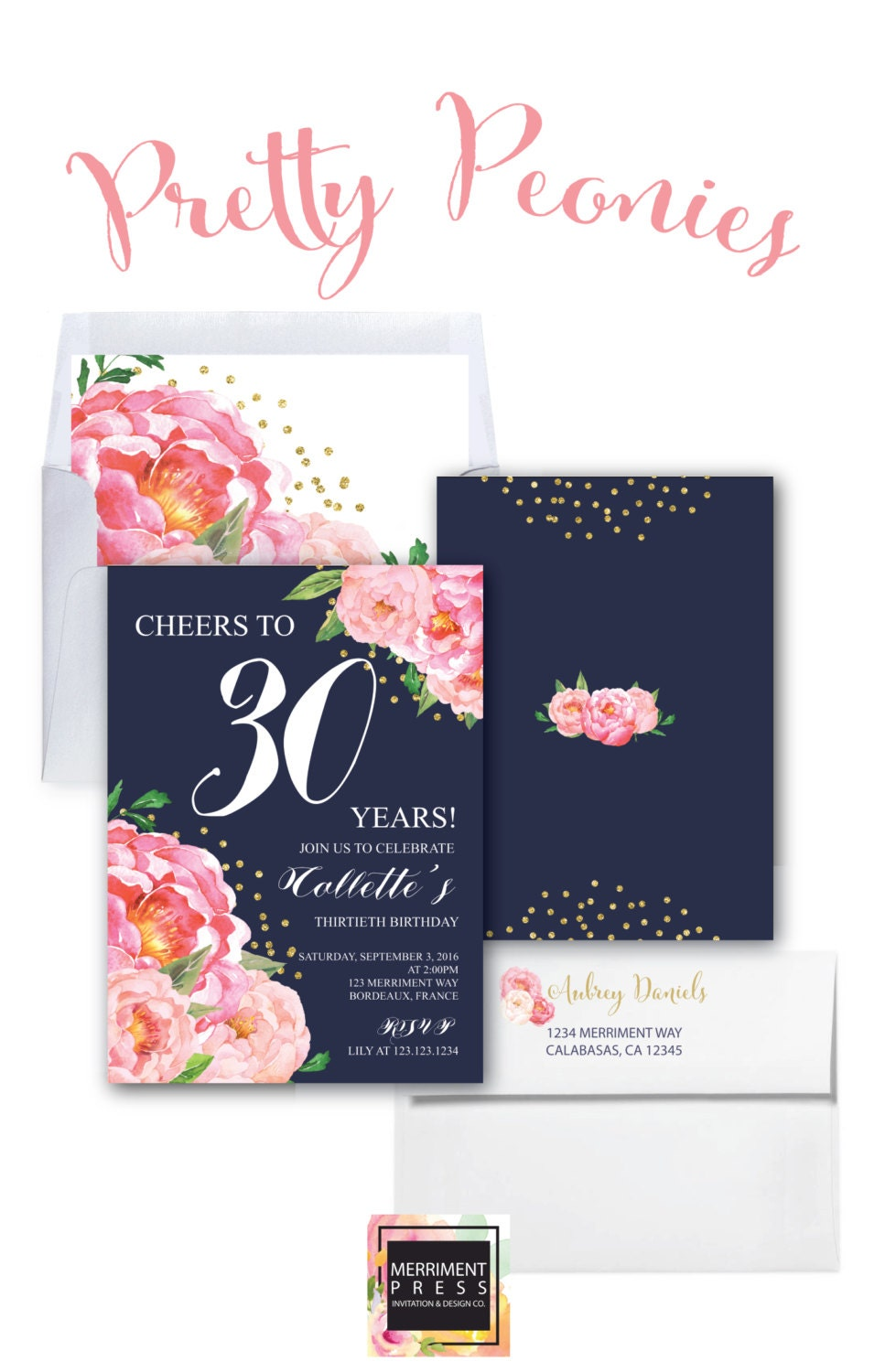 30th Birthday Invitation Thirtieth Navy Pink