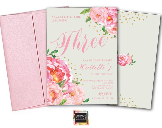 Birthday Invitation // Two // Three // Four // Six // Any Age // Grey // Flowers // Peony // Pink // Gold Glitter // BORDEAUX COLLECTION