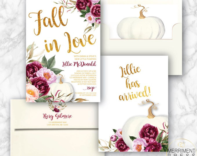 Burgundy Pumpkin Sip & See Invitation // A little pumpkin has arrived // Fall Sip and See Invitation // Gold Foil // CARMEL COLLECTION