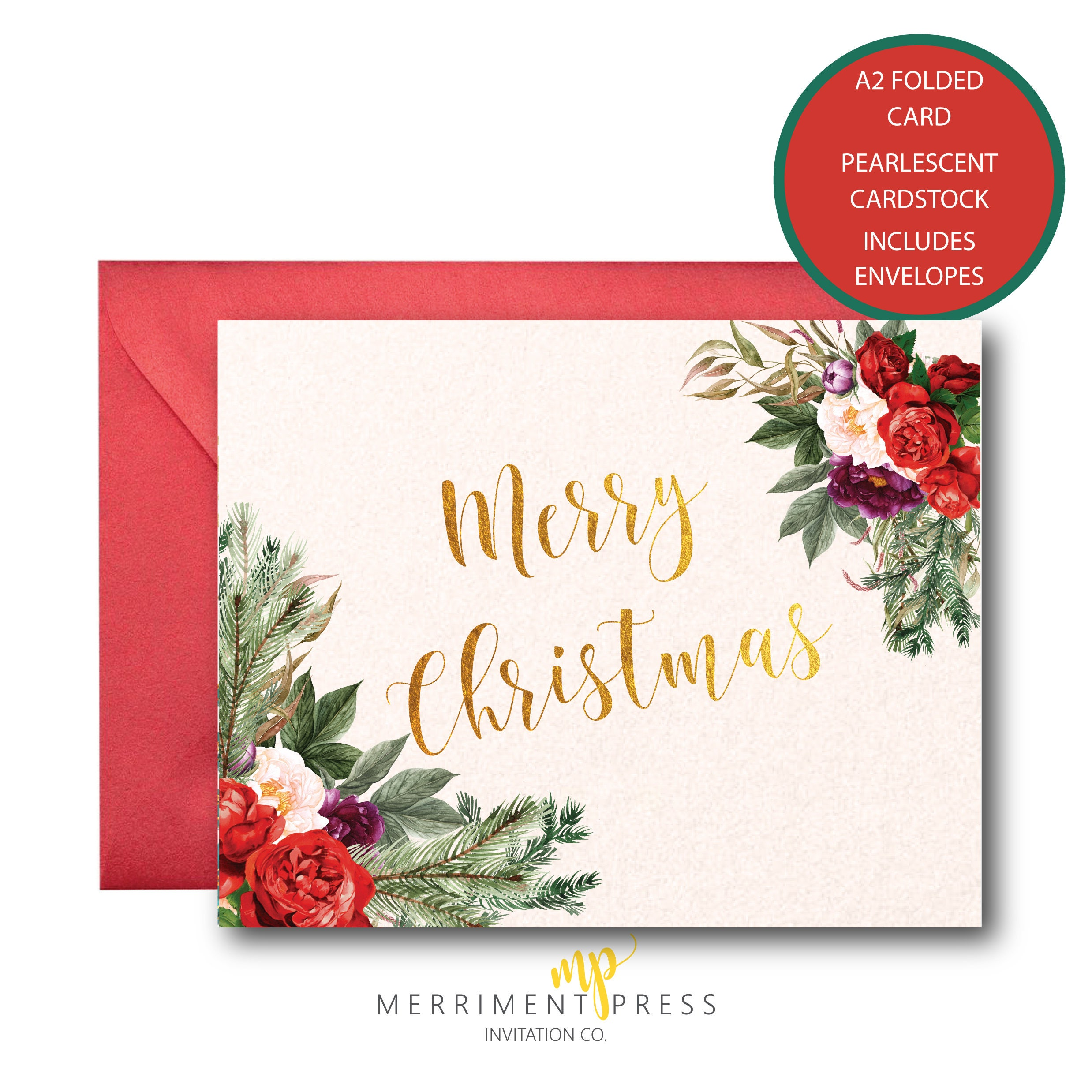 Merry Christmas Cards Set / Holiday Card / Christmas Trees ...