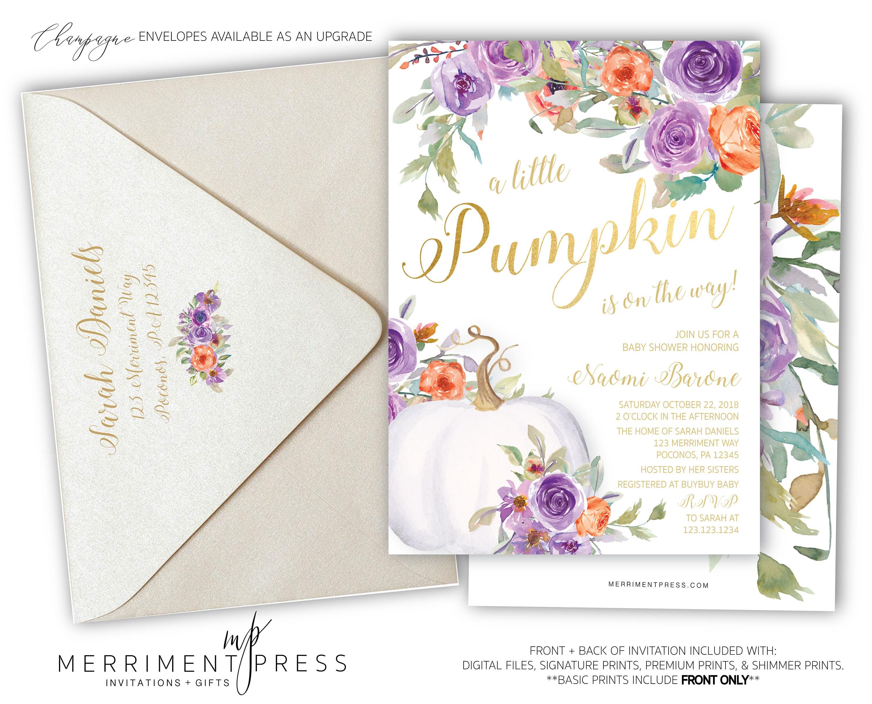 Pumpkin Baby Shower Invitation Little Pumpkin Floral Invite Purple