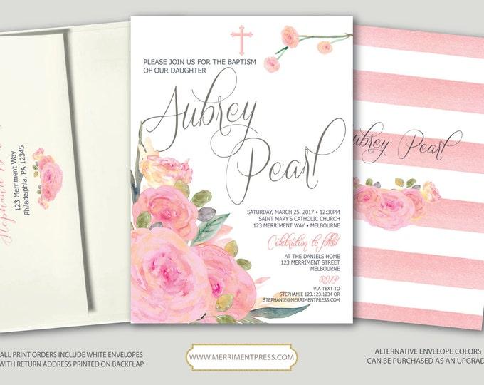 Pink Floral Baptism Invitation // Pink Flowers // Stripes // Blush // Communion // Religious // Watercolor // MELBOURNE COLLECTION