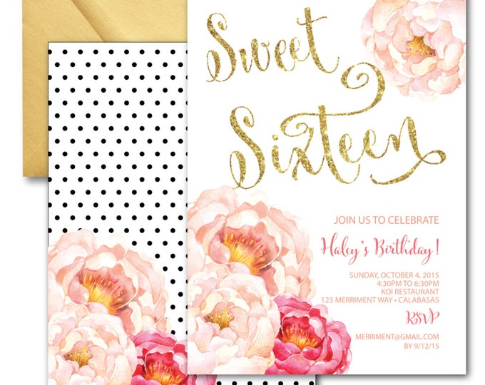 Sweet 16 Invitation // Sweet Sixteen Invitation // Peonies // Birthday // Pink // Gold Glitter // Polka Dots // CALABASAS COLLECTION