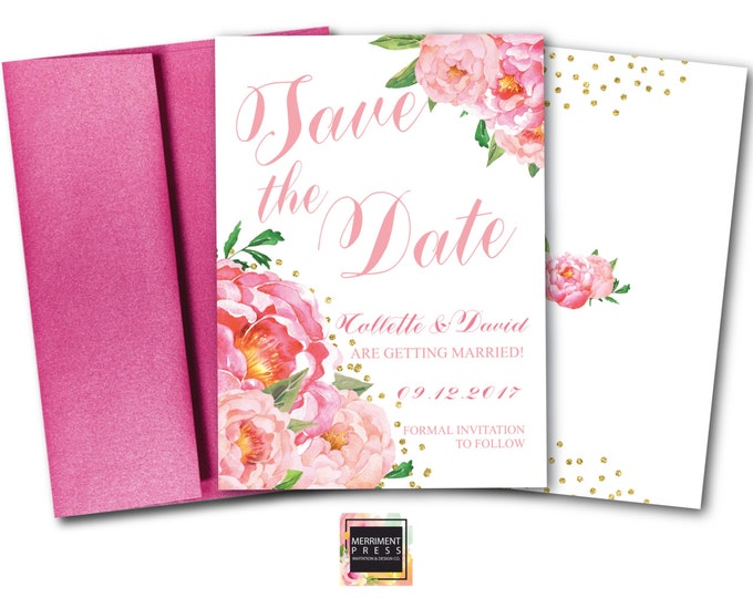 Save the Date Card // Pink Floral Save the date // Peonies // Peony // Flowers // Cheers // Pink // Gold Glitter // BORDEAUX COLLECTION