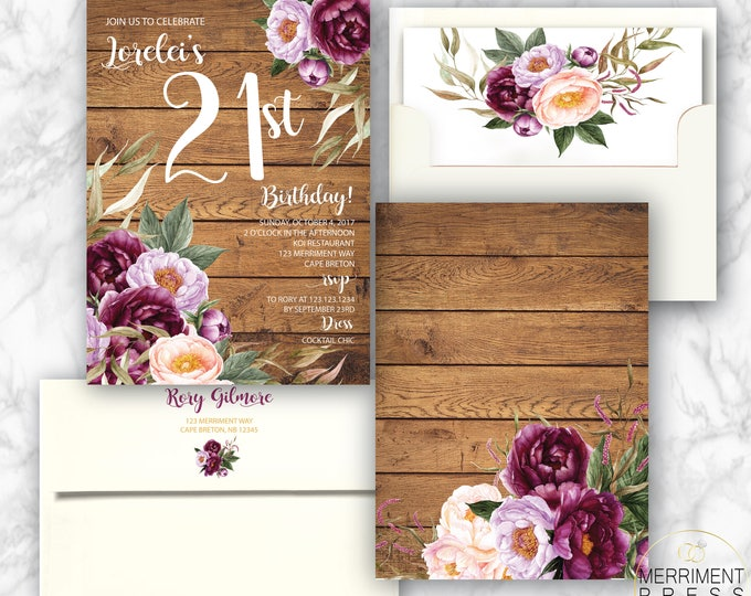 21st Birthday Invitation / Burgundy Floral Birthday Invitation / Peony / Wood / Rustic / Watercolor/ Pink / Wine /Gold / FLORENCE COLLECTION