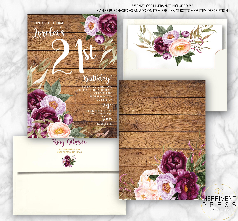 21st Birthday Invitation Burgundy Floral Peony