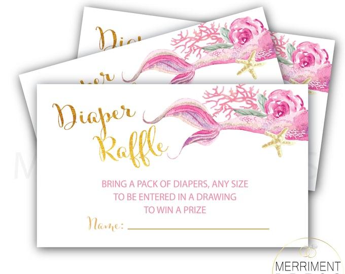 Pink Mermaid Diaper Raffle Ticket Inserts, Baby Shower Tickets, Diaper Raffle, Under the Sea, Mermaid Baby Shower, QUEENSLAND COLLECTION