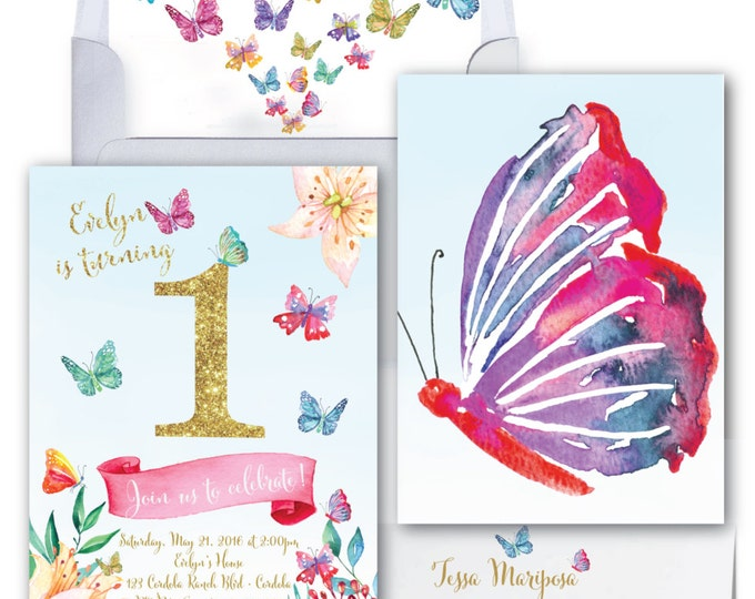 Butterfly First Birthday Invitation / Butterfly / Faux Gold Glitter /Butterfly Invitation / Watercolor / Flowers / ONE / CORDOBA COLLECTION