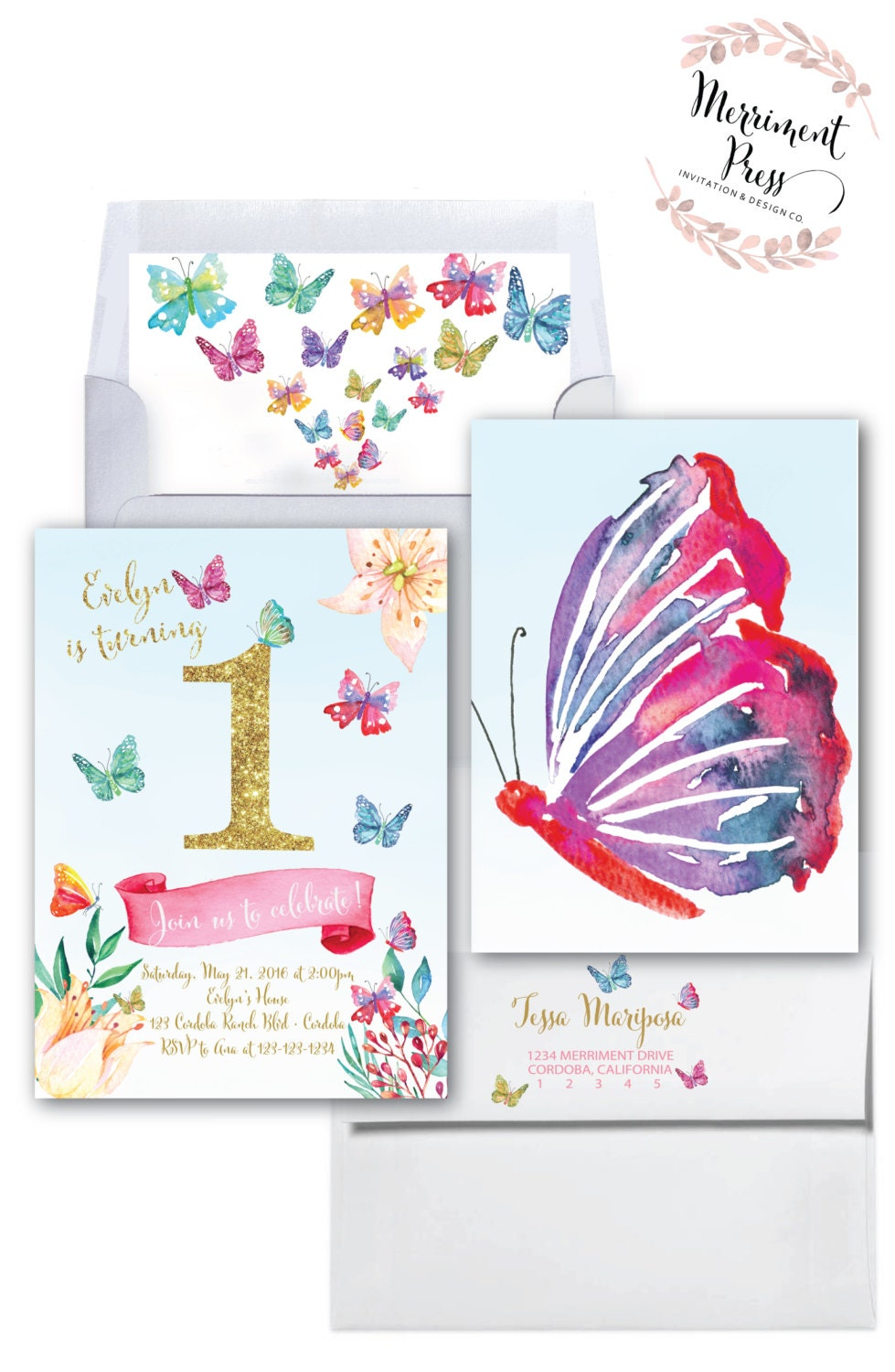Butterfly First Birthday Invitation Faux Gold Glitter