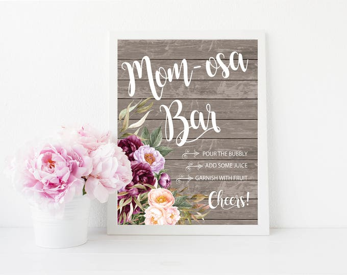 "Mimosa Bar Sign 8x10"" // Momosa Bar // Mom-mosa // Printed //Mimosas // Floral // Burgundy // Wood // Made to Match our FLORENCE COLLECTION"