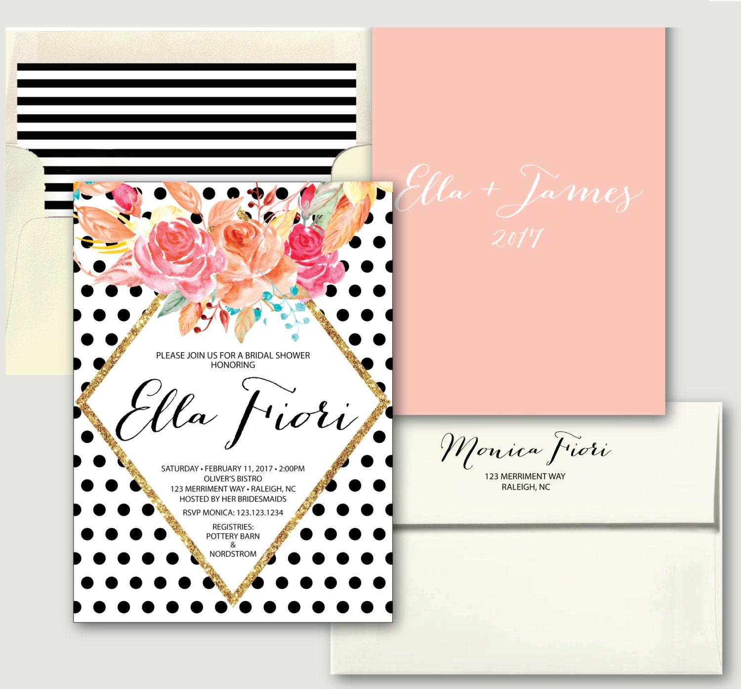 Black polka dot bridal shower invitation bridal shower invitation black polka dot bridal shower invitation bridal shower invitation black and white blush pink gold glitter raleigh collection filmwisefo