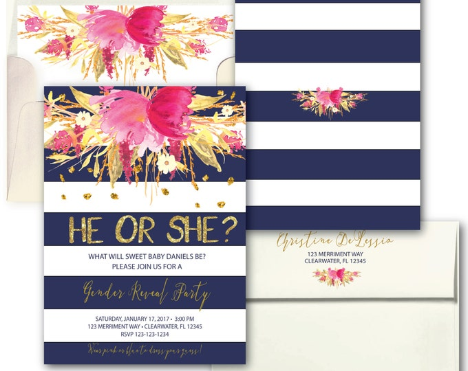Pink Navy Blue Gold Gender Reveal Invitation // Pink or Blue // He or She // Watercolor // Boy or Girl // Stripes // CLEARWATER COLLECTION