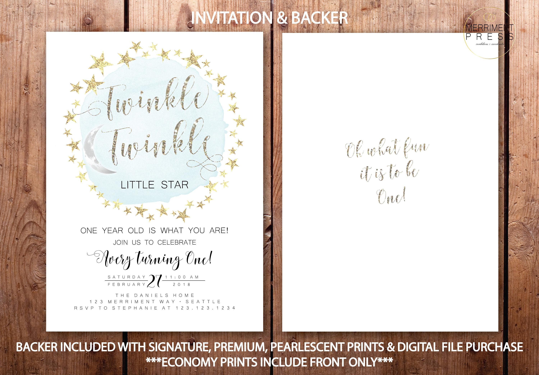 Modern Glitter Twinkle Twinkle First Birthday Invitation Boy One ...
