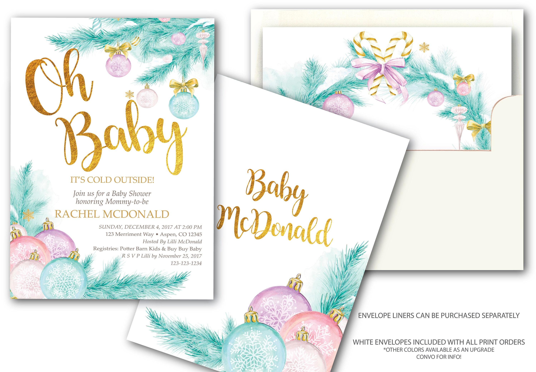 Holiday Baby Shower Invitation // Chirstmas Tree // Winter   Etsy