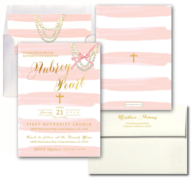 pink and gold striped baptism invitation blush pink elegant baptism