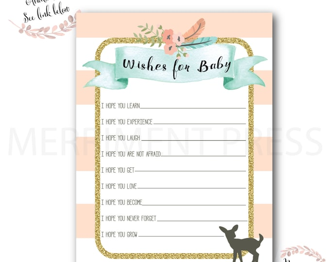 Wishes for Baby // Oh Deer // Fawn // Baby Shower Activities // Woodlands // Peach // Mint // Gold Glitter // Printed // OXFORD COLLECTION