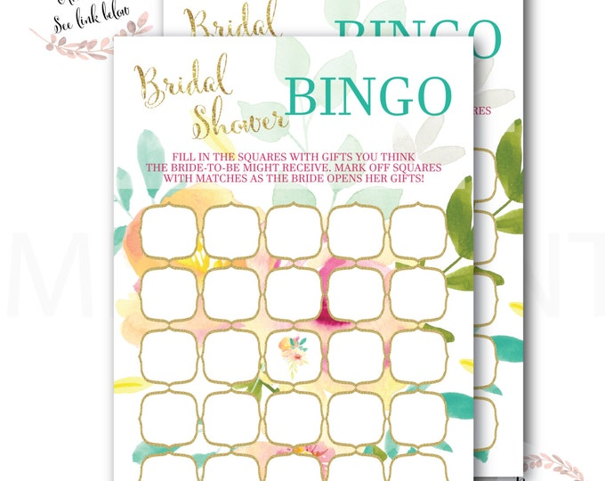 Floral Baby Shower Bingo // Peonies // Roses // Games // Peach // Yellow // Pink // Mint // Gold Glitter // Printed // MALIBU COLLECTION