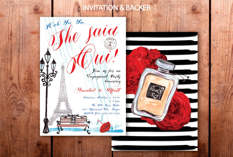 Paris Engagement Party Invitation // She said Oui // Eiffel Tower ...