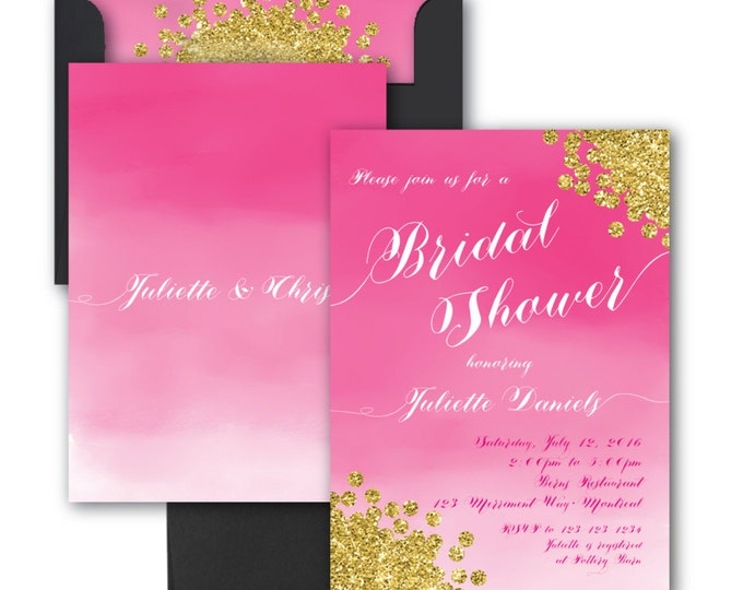 Bridal Shower Invitation // Watercolor // Pink // Gold Glitter // Bridal Shower Invitation // Fuschia//Hot Pink//Ombre// MONTREAL COLLECTION