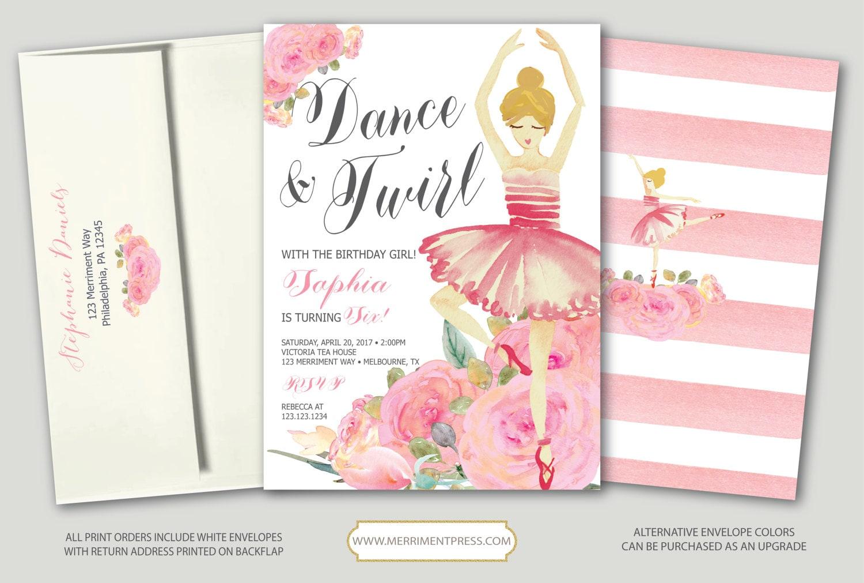 Ballet Birthday Invitation // Ballerina Pink Bridal Shower ...