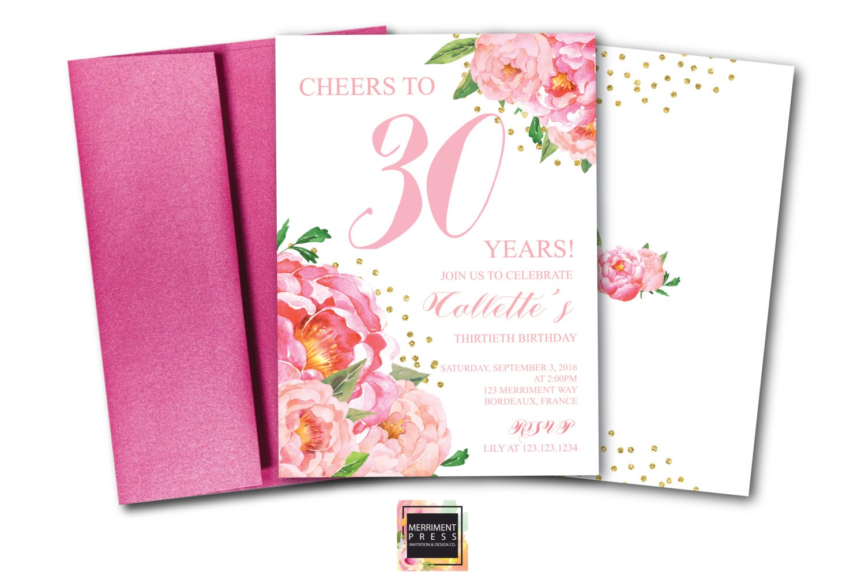 30th Birthday Invitation Thirtieth Pink Floral