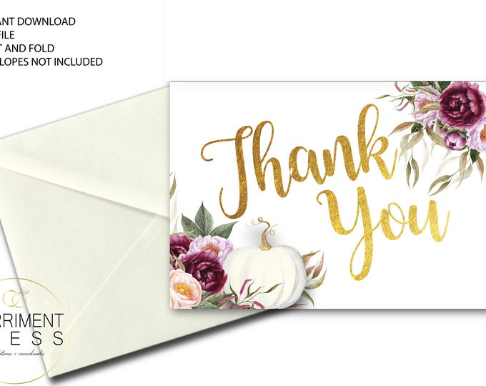 Fall Thank You Card // Folded Thank You // Pumpkin // Blush // Burgundy // Watercolor // Gold // Printed // CARMEL COLLECTION