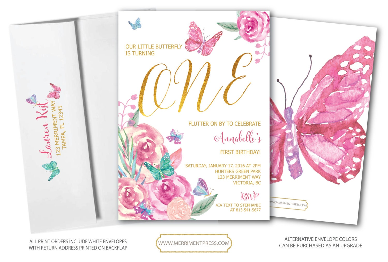 Butterfly First Birthday Invitation // Butterflies // 1st Birthday ...
