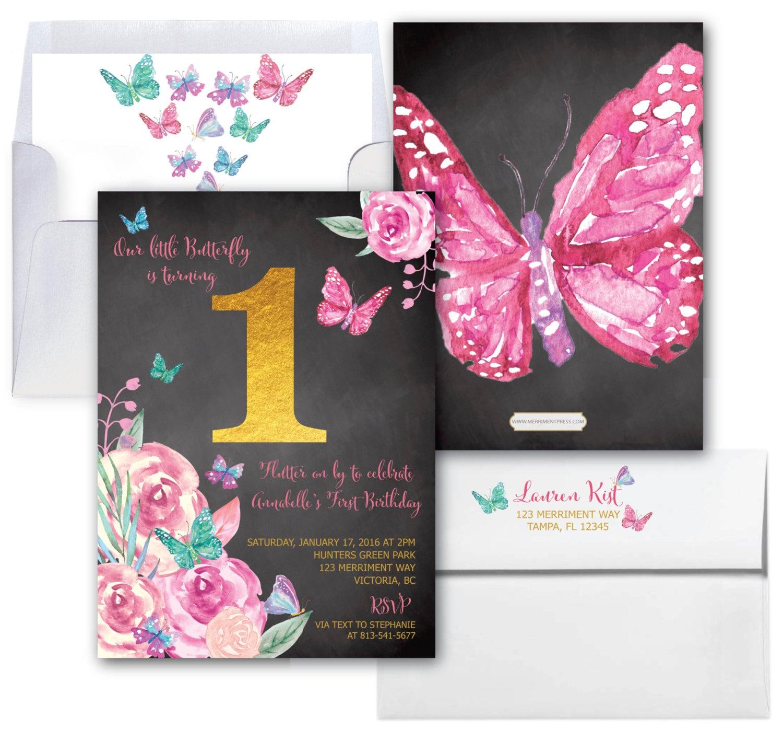 Butterfly First Birthday Invitation Butterflies 1st Invite Girls