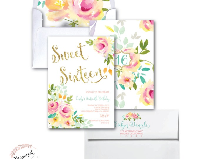 Sweet Sixteen Birthday Invitation // Sweet 16 // Roses // Peonies // Peony // Any Age // Pink // Gold Glitter // Yellow // MALIBU COLLECTION