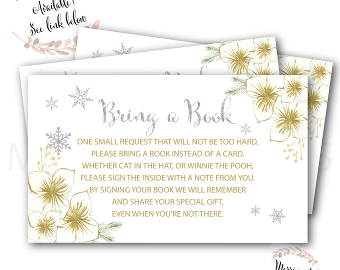 Bring a Book instead of a Card // Winter // Holiday // Gold // Snowflake Baby Shower // Christmas // Printed // CAPE BRETON COLLECTION