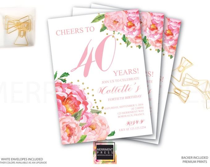 40th Birthday Invitation // Fortieth Birthday Invitation // Pink Floral // Flowers // Peony // Pink // Gold Glitter // BORDEAUX COLLECTION