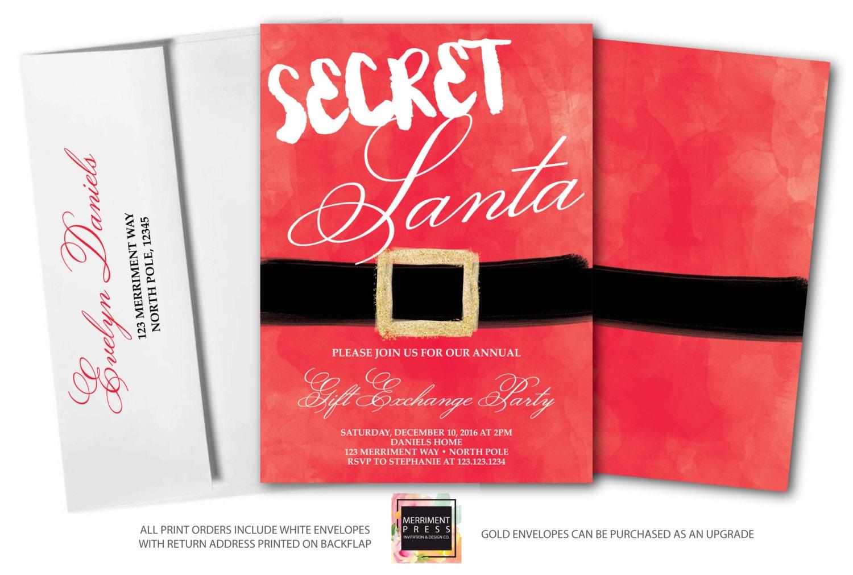 secret santa invitation christmas party invitation holiday