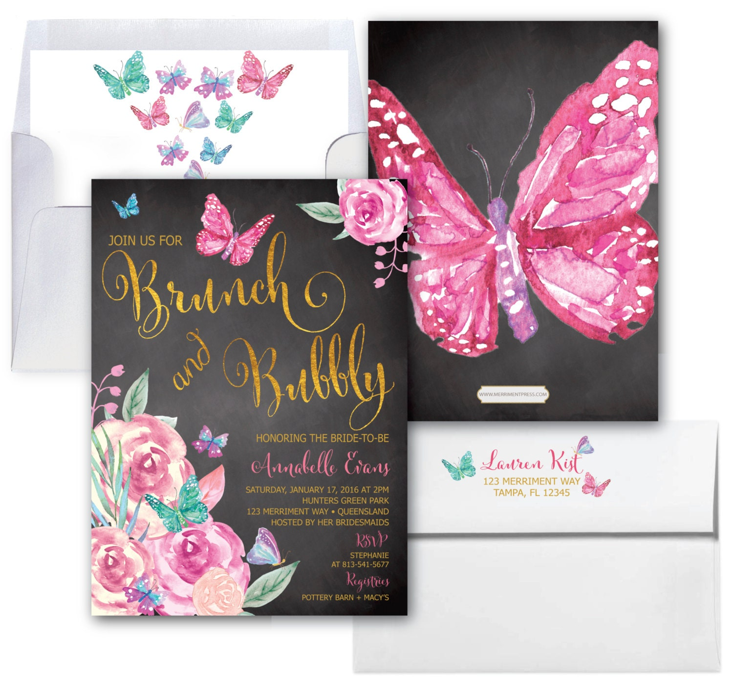 butterfly brunch and bubbly invitation butterflies bridal shower invite butterfly floral chalkboard watercolor victoria collection
